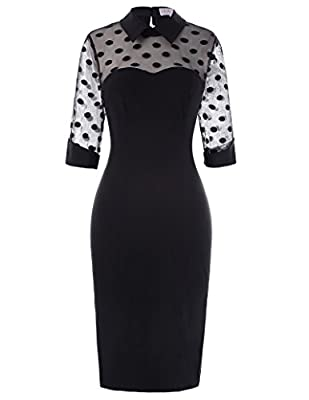 Lapel collar design with vibrant polka dot detail, the pencil dress can give you a vintage style Suit for dating, banquet, wedding, party, evening, work, business, leisure occasion See-through bodice and 3/4 sleeve design, this retro dress can accent...
