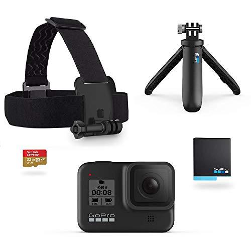 GoPro Pacchetto HERO8 Black - include Shorty, cinghia per la testa, batteria di riserva e scheda di memoria da 32 GB