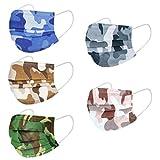 Camouflage Imprimé Masques pour Enfants_jetables, Protection Respirante à 3 Couches,Boucles d'oreille réglables &Fil de Nez pour activités intérieures et extérieures
