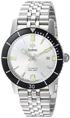 Zodiac Men's Super Seawolf 53 Comp Swiss-Automatic Watch with Stainless-Steel Strap, Silver, 24 (Model: ZO9255)