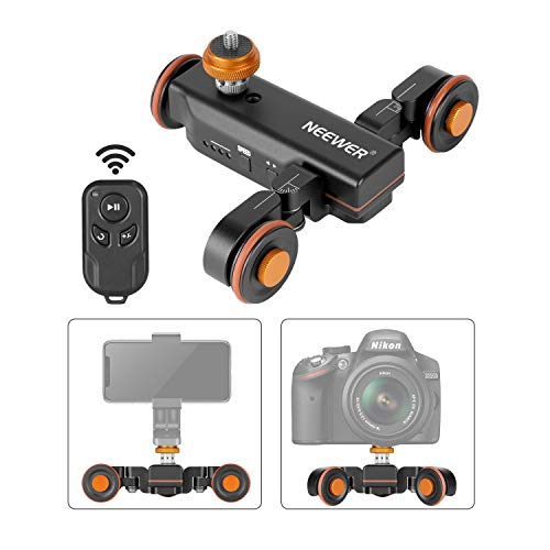 Neewer 3 Ruote Wireless Dolly Automatico per Videocamera, Carrello Elettrico Motorizzato di scorrimento con Telecomando, 3 Velocità Regolabili per Videocamera DSLR Gopro iPhone e Samsung Cellulari