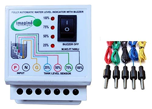 imagine technologies ABS Water Level Indicator with Alarm on Tank Full with 5 Sensors (Standard,...