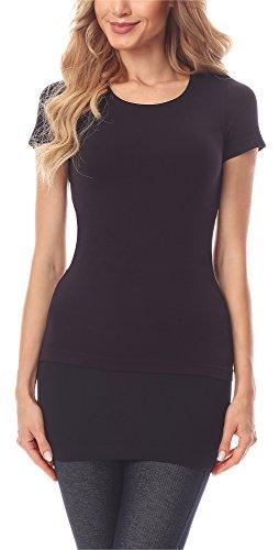 Merry Style Damen Verlängerungsgurt für Hemden T-Shirts MS10-202 (Schwarz, L)