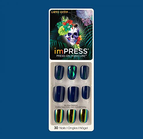 Impress by Kiss (1) Pack Press-On Gel Manicure Halloween Limited Edition 30 Nails including Accents - Navy with Mosaic Nails and Iridescent Green Chrome Accents - Name in the Sky #80093