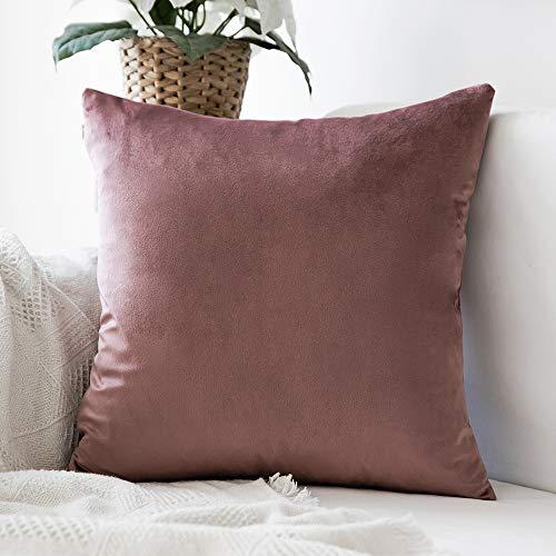 MIULEE Confezione da 1 Federa in Velluto Copricuscino Decorativo Fodera Quadrata per Cuscino per Divano Camera da Letto Casa45X45cm Marrone Rosa