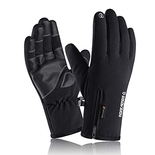 VICKSONGS Handschuhe Herren Touchscreen, Winterhandschuhe Fahrrad Motorrad Herren Wasserdicht, Skihandschuhe Damen, Fahrradhandschuhe Männer, rutschfest Handschuhe Winter Winddicht, Schwarz - XL
