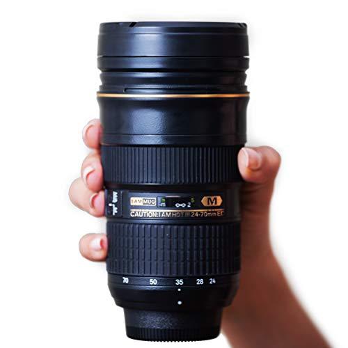I AM MUG Taza café objetivo 24-70mm | Compatible con lentes de cámara Nikon 24-70mm | Taza de café 350 ml | Taza viaje única | Idea de regalo original para fotógrafos| Ideal regalo por menos de 30€