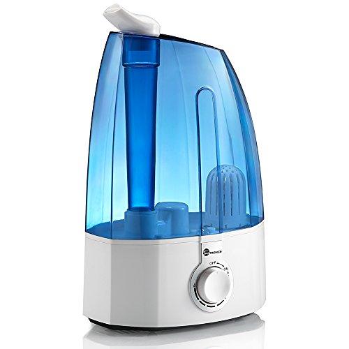 TaoTronics 3,5L Ultraschall Luftbefeuchter für Schlafzimmer, Humidifier mit Extrafeinen Keramikfilter, Bedienung über Drehknopf, zwei 360° drehbare Dampfdüsen, Einstellbare Nebelmenge