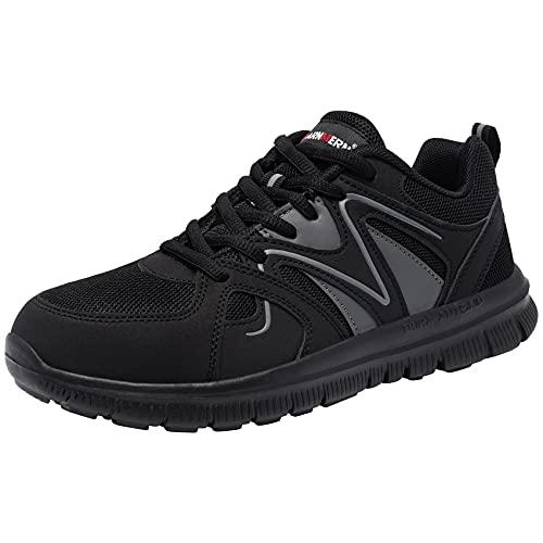 LARNMERN Zapatos de Seguridad Hombre Mujer con Punta de Acero Ligero Transpirable Cómodo Zapatillas Calzado Pies Anchos Cordones Trabajo 39 EU Negro