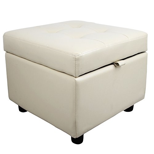 Tufted Leather Square Flip Top Storage Ottoman Cube Foot Rest