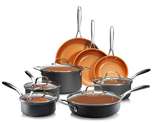 Gotham Steel Pro 1838 Hard Anodized Cookware Set, 13 Piece, Copper