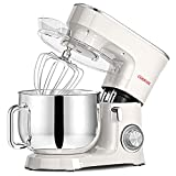 COOKLEE Stand Mixer, 9.5 Qt. 660W 10+1 Speeds Electric Kitchen Mixer with Dishwasher-Safe Dough Hooks, Flat Beaters, Wire Whip & Pouring Shield Attachments for Most Home Cooks, SM-1551, White