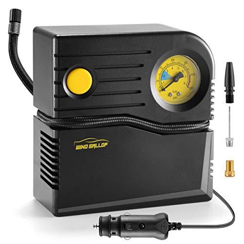 WindGallop Luftkompressor Mini Kompressor Auto Luftpumpe 12v Kompressor Fahrrad Elektrisch Autokompressor Autoreifen Pumpe Analogue Reifenfüller mit Reifendruckmesser und Ventiladaptern (Gelb)