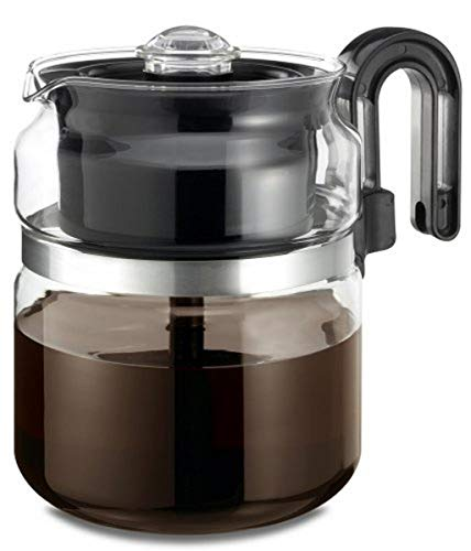 CAFÉ BREW COLLECTION High End Glass Stovetop Percolator Coffee Pot - Best 40 oz Borosilicate Glass Percolator Coffee Pot - Dishwasher Safe Coffee Percolator - BPA Free 8 Cup Percolator by Medelco