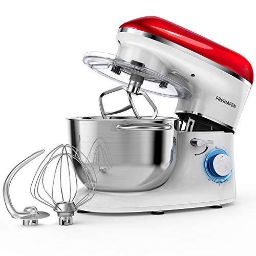 Freihafen - Robot da cucina, impastatrice da 5,5 l, con fruste, gancio di miscelazione, frusta a...