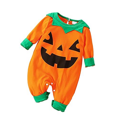 I3CKIZCE Completo di Halloween Tutina Pagliacetto Bambino Neonata Unisex 0-4 Anni 3 Pezzi Cosplay Zucca Stampa Costume Carino Gilet + Cappello + Calzino Feste (Arancia-b, 3-6 Mesi)