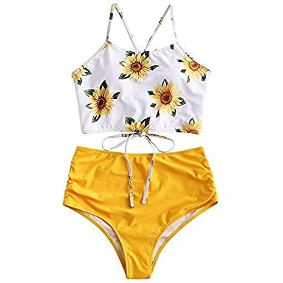 Tankini top features knotted detail at the hemline,giving a wonderful girlish look. Ruched decoration creates a flattering fit and chic look and shape your body.