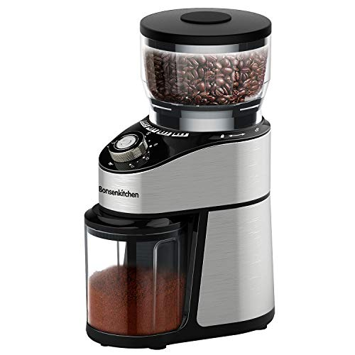 Conical Burr Coffee Grinder Electric,Stainless Steel Automatic Coffee Mill Grinder With 12 Ground Size And 2-12 Cup Setting, Large Capacity Hopper Coffee Bean Grinder for Home, Office, Kitchen