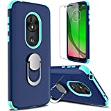 lovpec Moto G7 Play Case with Soft TPU Screen Protector, T-Mobile Revvlry Case, Ring Magnetic Holder Kickstand Shockproof Protection Phone Case for Motorola Moto G7 Play/Moto G7 Optimo XT1952 (Navy)