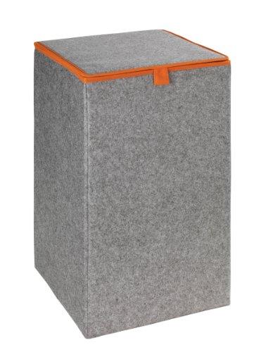 WENKO Wäschesammler Filz Uno Orange - Wäschekorb Fassungsvermögen: 55 l, Filz, 32 x 54 x 32 cm, Grau