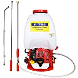 6.5 Gallon Gas Powered Backpack Sprayer 2 Stroke 8L/M Gasoline Sprayer Include Adjustable 2 Jet Wands/Nozzles,Professional Water Fertilizer Tools for Garden Spraying,Plant Cleaning