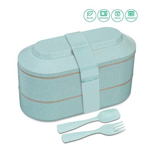 Comfook Lunchbox-Bento Box, Lunch Box mit 2 Fächern, Brotdose für Kinder und Erwachsene, Eco-Lunchbox | Brotdose BPA-frei mit Besteck | Bento Lunchbox für Arbeit, Schule, Reisen