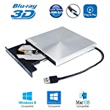 External Blu-ray Burner Region Free Portable DVD Player, for HP Dell Acer Asus Lenovo MSI Alienware Gaming Laptop and Desktop Computer with Windows 10 8, 6X 3D BD-RE DL DVD-RW Writer Optical Drive