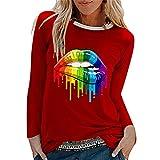 PRJN Ropa de Mujer Sudadera Mujer Labio Estampado gráfico Pullover Tops Jersey...