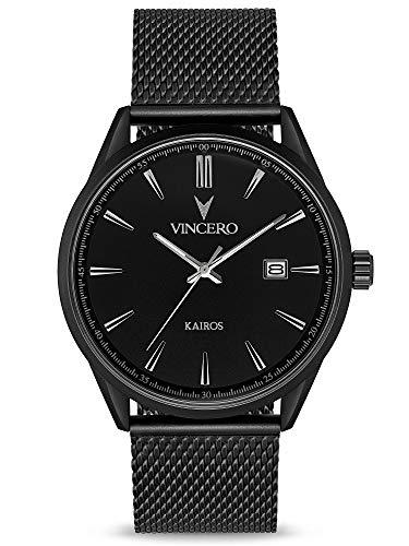 Vincero Luxus Kairos Herren Armbanduhr - 42 mm Analoguhr - Japanisches Quarz Uhrwerk (Mattschwartz)