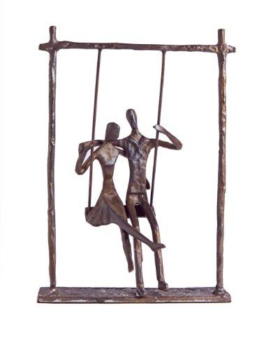 Danya B. ZD9022 Contemporary Metal Art Shelf Décor - Cast Bronze Sculpture - Couple on a Swing