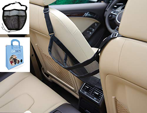 41yqvguFbnL Car Caché (US Patent #9,428,115) keeps your handbag easily accessible, clean, and out of passengers way for years to come! The pocket is perfect for small items such as an umbrella, gloves, charging cords, etc. then simply toss your handbag in front of the pocket. Great as a pet barrier for smaller dogs! Recommended by: GMA Kelly & Ryan, Real Simple, People Mag., BuzzFeed, GMA Michael Strahan & Sara, Readers Digest, Parade Mag., NewsWatch TV, and more! REQUIRES: Center console that opens from the Front (cannot slide open) and Accessible headrest posts. If console opens from the side or middle, use 3M Command hooks, that are used for large pictures, and stick them upside down on the inside, back of the console and tie strings.
