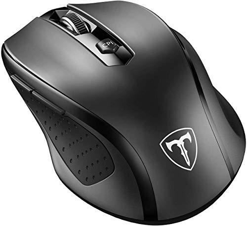 VicTsing MM057 2.4G, dpi 2400, Profesional Mouse/Ratón Inalámbrico Ergonómico,6 Botones, Nano Receptor, 2400DPI y 5 Nivel Ajustable, para Windows, Mac y Linux - Color Negro