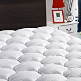 LEISURE TOWN King Mattress Pad Cover Cooling Mattress Topper Cotton Top Pillow Top with Snow Down Alternative Fill (8-21 Inch Fitted Deep Pocket)