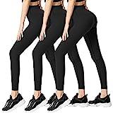FULLSOFT 3 Pack Super Soft Black Leggings for Women-High Waist Yoga Workout Running Pants