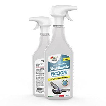 Albagarden - Répulsif déshabituant, dissuasif naturel pour éloigner pigeons, tourtereaux et oiseaux agaçants - Pas de clôture, effet répulsif sur les volatiles, sans poison ni ultrasons - Spray 750 ml