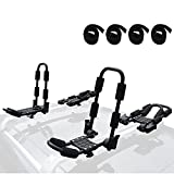 WIRUGA Folding Kayak Rack 4 PCS/Set J Bar Roof Carrier Rack of Bilateral Premier for Canoe/SUP/Kayaks and Surfboard Board On Rooftop Mount on SUV/Car and Truck Crossbar with 4 PCS Tie Down Straps
