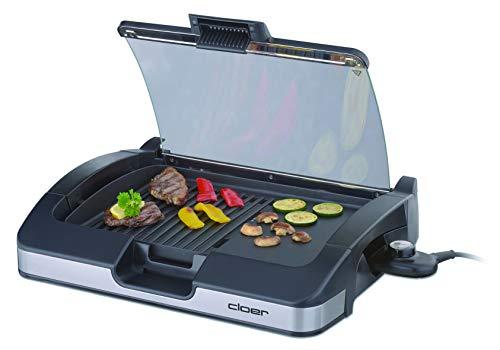 Cloer 6725 Aluminium-Druckgussplatte/Antihaftbeschichtet/Glasdeckel / 2200 Watt/Grillfläche: 29 Barbecue-Grill, silber, schwarz