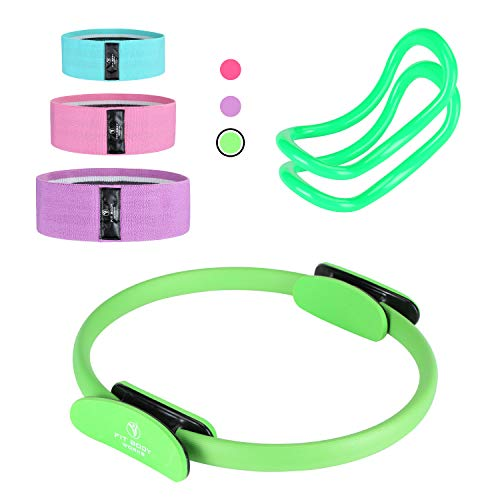 Pilates Ring Exercise Equipment for Inner & Outer Thigh, Abs, Legs, Muscle Strength includes Resistance Bands for Butt Squat Workout, Body Balance Stability & a Yoga Ring for Men and Women Fitness 1