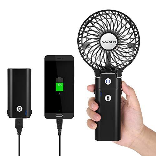 Mini Handventilator mit Powerbank-Funktion, NACATIN Personal Fan mit 5200 mAh aufladbarer Batterie Akuu, Beweglicher 3 einstellbare Geschwindigkeiten für Indoor und Outdoor Aktivitäten, Schwarz