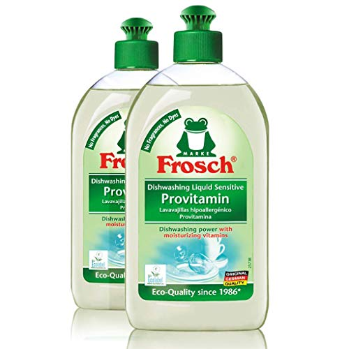 Frosch Natural Unscented Sensitive Provitamin Dish Soap, Vegan Hand Dishwashing Detergent, Free and Clear, 500 ml (Pack of 2)