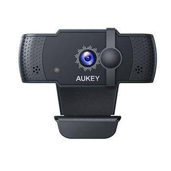 AUKEY Webcam 5 MP 1080p Full HD avec Mise au Point Automatique Microphone Stéréo, USB Caméra Web Fonctionne avec Skype, Zoom, WebEx, Lync, Compatible avec Windows, Mac et Android