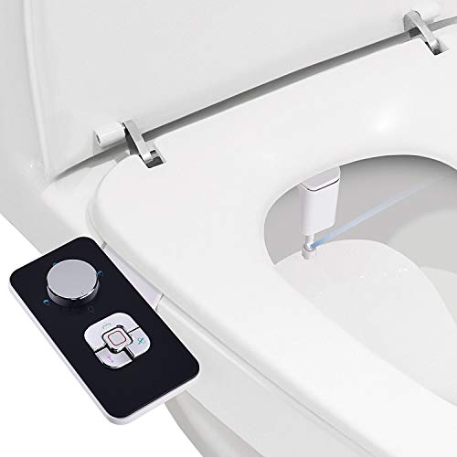 Bidet Attachment - SAMODRA Non-electric Cold Water Bidet Toilet Seat Attachment with Pressure Controls,Retractable Self-cleaning Dual Nozzles for Frontal & Rear Wash - Black