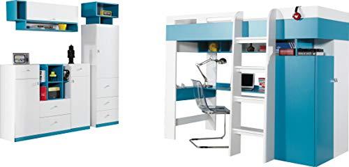 Hochbett mit Schreibtisch 'MOBI System 20' Kinder Möbel Set.