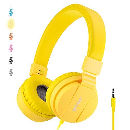 ONTA Cuffie per Bambini, Pieghevoli Leggere On Ear Auricolari per Bambini Ragazzi e Ragazze, Comode Audio Cuffie per Bambina per Cellulare/ Smartphone /Tablet/ Mp3-giallo