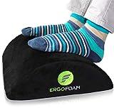ErgoFoam Ergonomic Foot Rest Under Desk   Premium Velvet Soft Foam Footrest for Desk   Most Comfortable Desk Foot Rest in The World for Lumbar, Back, Knee Pain   Foot Stool Rocker (Black)
