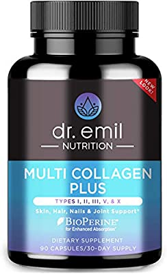 All-in-one super collagen blend - our hydrolyzed collagen peptide pills feature a blend of 100% grass-fed bovine, chicken, eggshell and marine collagen sources, including Types I, II, III, V & X. High dose & better absorption - Our extra strength col...