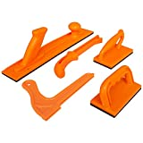 Safety Woodworking Push Block and Push Stick Package 5 Piece Set In Safety Orange Color, Ideal for Woodworkers and Use On Table Saws, Router Tables, Jointers and Band Saws