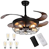 Retractable Ceiling Fans with Lights - with 5 LED Bulbs and Remote Controller 42inch Vintage Retractable Ceiling Fans