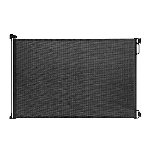 EasyBaby Products Indoor Outdoor Retractable Baby Gate, 33' Tall, Extends up to 55' Wide, Black