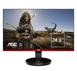 AOC G2590FX 25' Framless Gaming Monitor, FHD 1920x1080, 1ms, 144Hz, G-SYNC Compatible+AdaptiveSync, 96% sRGB, DisplayPort/HDMI/VGA, VESA, 25 inch, Black / Red
